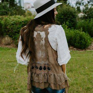 NWT Ruffle Lace Vest